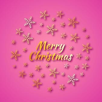 Banner redondo de natal com flocos de neve de ouro e sombras no fundo rosa e a inscrição feliz natal. ilustração vetorial
