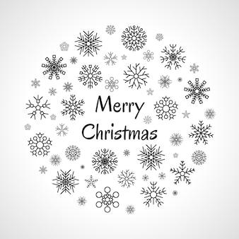 Banner redondo de natal com flocos de neve escuros em fundo branco e inscrição feliz natal. ilustração vetorial