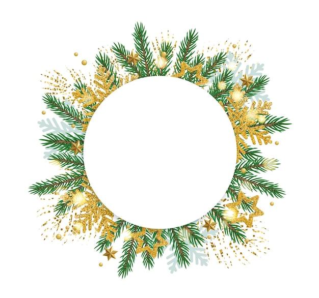 Banner redondo de natal com galhos de pinheiro e enfeites de ouro.