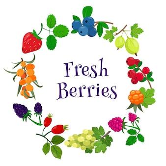 Banner redondo sazonal com diferentes frutas frescas