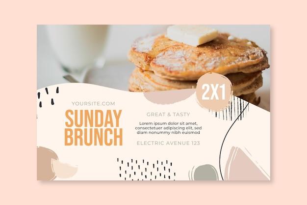 Banner restaurante de comida de brunch de domingo
