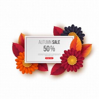 Banner retangular de venda outono com folhas 3d, flores e padrão pontilhado. modelo para descontos sazonais