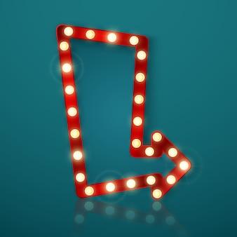 Banner retrô com luzes brilhantes. outdoor vintage ou tabuleta brilhante com reflexão. sinal de banner de seta brilhante.