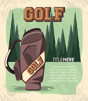 Banner retrô de clube de golfe com saco de caddy