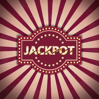 Banner retrô de jackpot com lâmpadas brilhantes