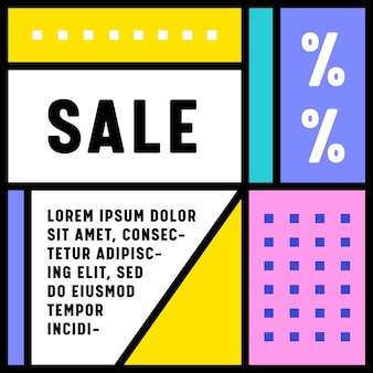 Banner retrô de venda em estilo geométrico mínimo com formas quadradas coloridas e padrão pontilhado