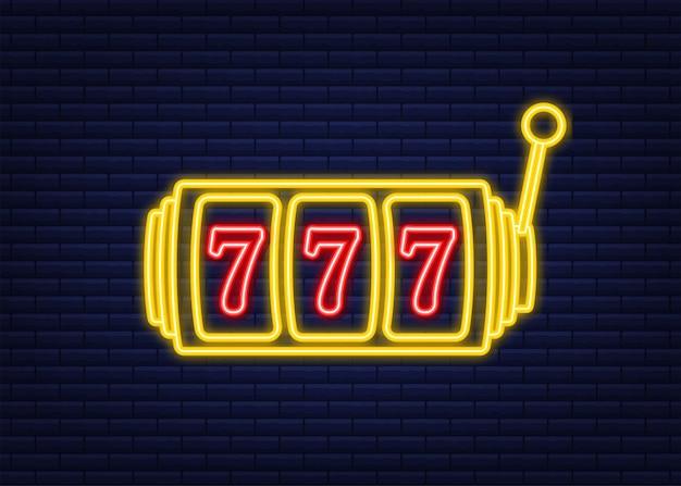 Banner retrô para design de plano de fundo do jogo. banner do vencedor. máquina caça-níqueis com jackpot setes da sorte. estilo neon. ilustração em vetor das ações.
