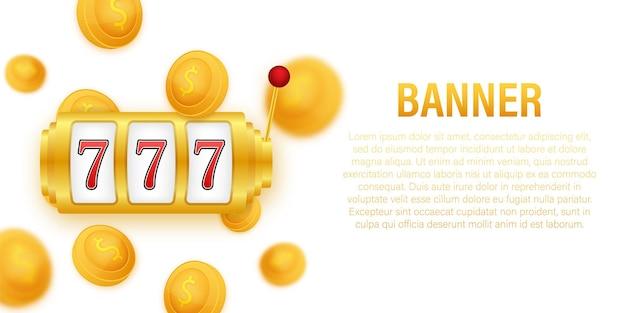 Banner retro para o design do plano de fundo do jogo banner do vencedor slot machine com jackpot de sevens da sorte