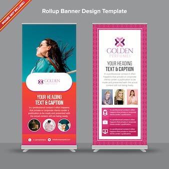 Banner retro rústico e rosa rollup com efeito gradiente