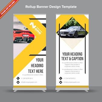Banner rollup moderno em formas geométricas amarelo e cinza
