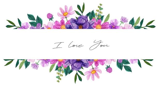 Banner romântico com arranjo floral roxo aquarela