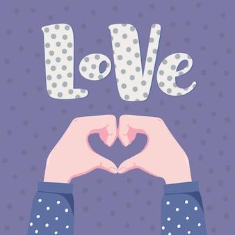 Banner romântico, design de cartão com duas mãos humanas, dobrando-se em forma de coração e palavra amor com padrão de bolinhas