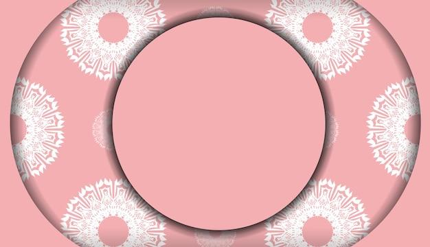 Banner rosa com enfeite branco vintage para design sob seu logotipo ou texto
