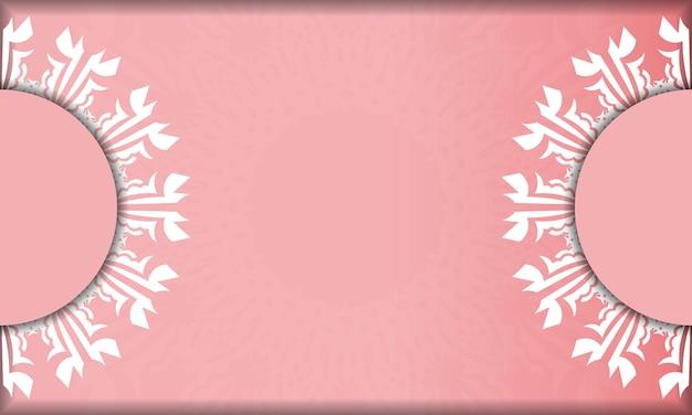 Banner rosa com luxuoso padrão branco para design sob seu logotipo
