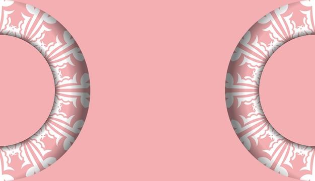 Banner rosa com ornamento branco abstrato e lugar para logotipo ou texto