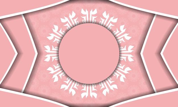 Banner rosa com ornamento branco abstrato para design sob seu logotipo