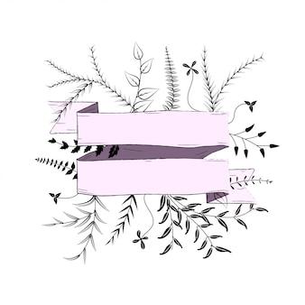 Banner rosa com silhueta ramos em branco