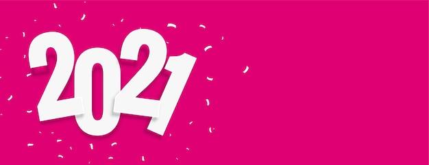 Banner rosa de ano novo 2021 com confetes de celebração