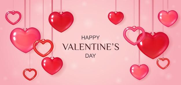 Banner rosa do dia dos namorados com corações Vetor Premium