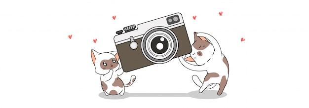 Banner saudação 2 gato bonito estão carregando a câmera