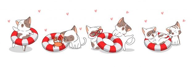 Banner saudação gato bonito e bóias de vida no estilo cartoon