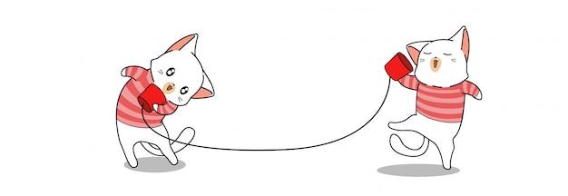 Banner saudação gatos adoráveis estão dizendo olá