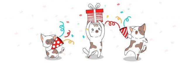 Banner saudação gatos bonitos estão comemorando por um bom tempo