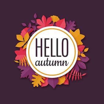 Banner sazonal de origami com texto olá outono.