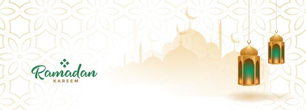 Banner sazonal do ramadan kareem muçulmano com lanternas de suspensão