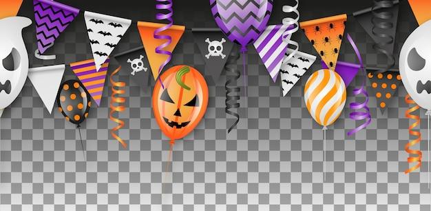 Banner sem costura de halloween com balões, flâmulas e serpentinas