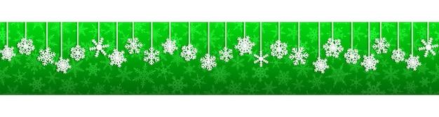 Banner sem costura de natal com flocos de neve brancos pendurados com sombras sobre fundo verde