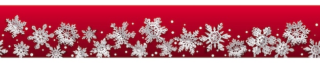 Banner sem costura de natal com flocos de neve de papel de volume com sombras suaves sobre fundo vermelho. com repetição horizontal