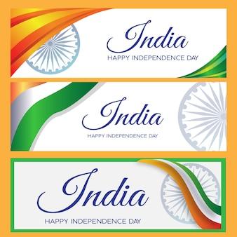 Banner set índia dia da independência