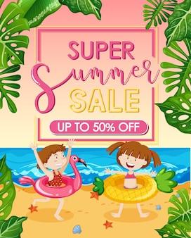Banner super liquidação de verão com crianças felizes na praia