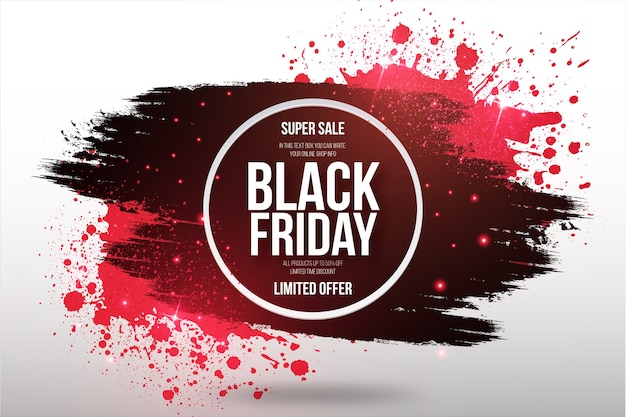 Banner super venda de black friday com moldura de pincel