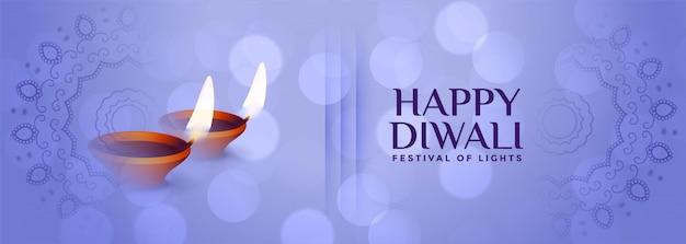 Banner sutil lindo feliz diwali na cor azul