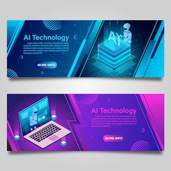 Banner tecnologia de robô de inteligência artificial para design isométrico de negócios