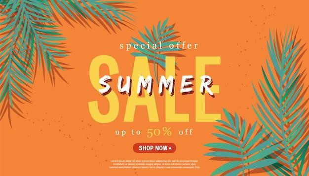 Banner temático de liquidação de temporada de verão com palmeira tropical verde