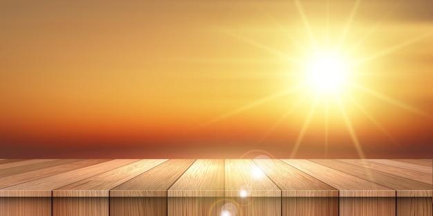 Banner temático de verão com mesa de madeira, olhando para um céu pôr do sol