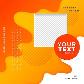Banner tendy de postagem em mídia social amarelo laranja