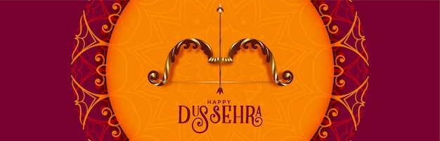 Banner tradicional do festival dussehra feliz com arco e flecha