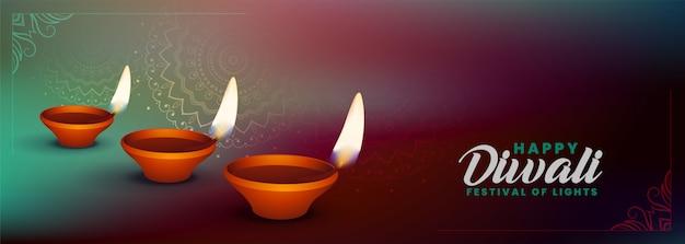 Banner tradicional feliz diwali com três diya