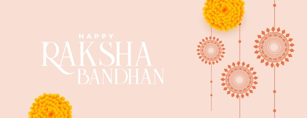 Banner tradicional raksha bandhan feliz com rakhi plano e flor de calêndula