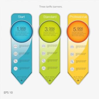 Banner triplo para hospedagem. banners de três tarifas. tabela de preços da web. para aplicativo da web. estilo de seta.