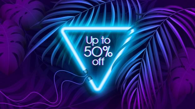 Banner tropical de luz neon em cor fluorescente