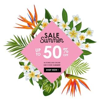 Banner tropical de venda de verão com flores