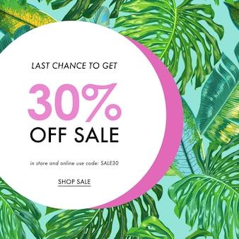 Banner tropical de venda de verão com folhas de palmeira