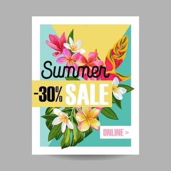 Banner tropical de venda de verão
