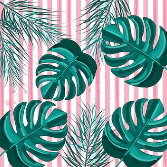 Banner tropical de verão com folhas de palmeira verde