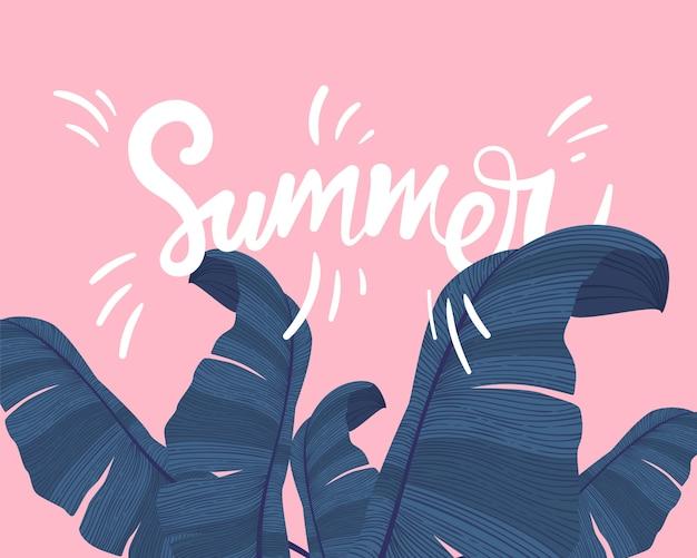 Banner tropical de verão com palmeira exótica deixa em rosa.